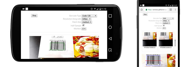 Scanning barcodes with built-in mobile camera and HTML5